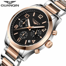 Luxury Brand GUANQIN Men Watch Chronograph Business Quartz Watches Date Luminous Wristwatcesh Mens Stainless Steel Clock Reloj