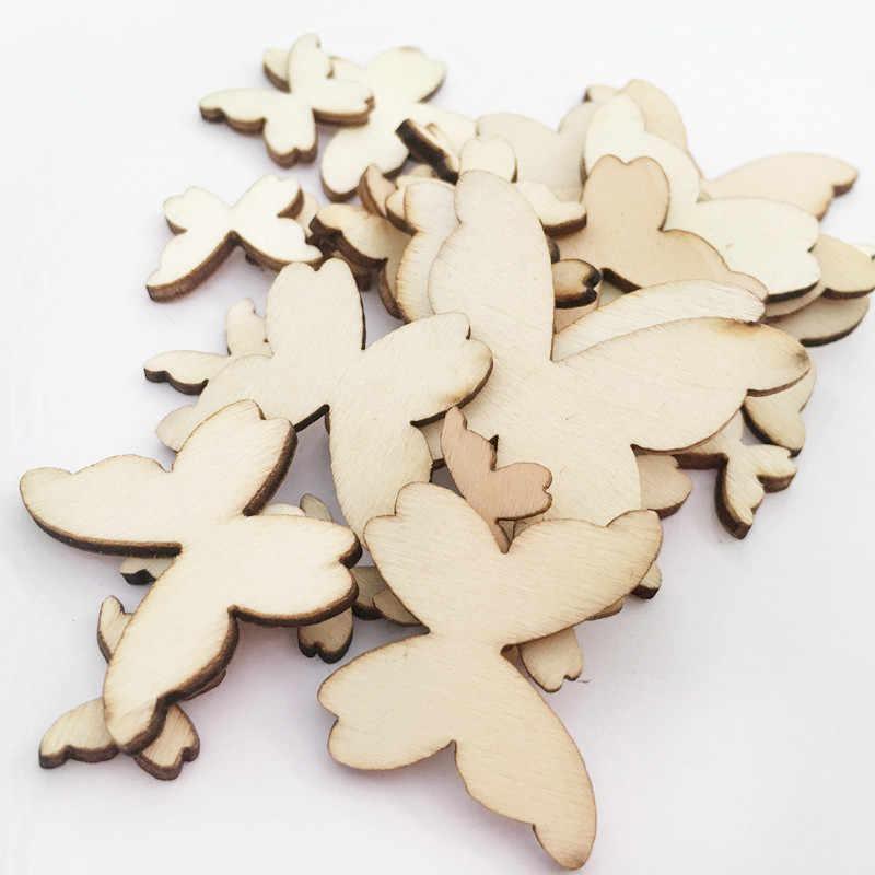 50 шт./пакет смешанные размеры бабочка стиль украшения из дерева Настенная палка гостиная и Спальня украшение ремесло деревянные украшения