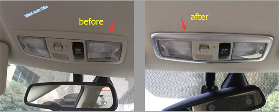 For Mitsubishi Outlander 2015 2016 2017 ABS New Style Roof Reading Light Lamp Frame Decorative Cover Trim 3 Pcs / Accessories