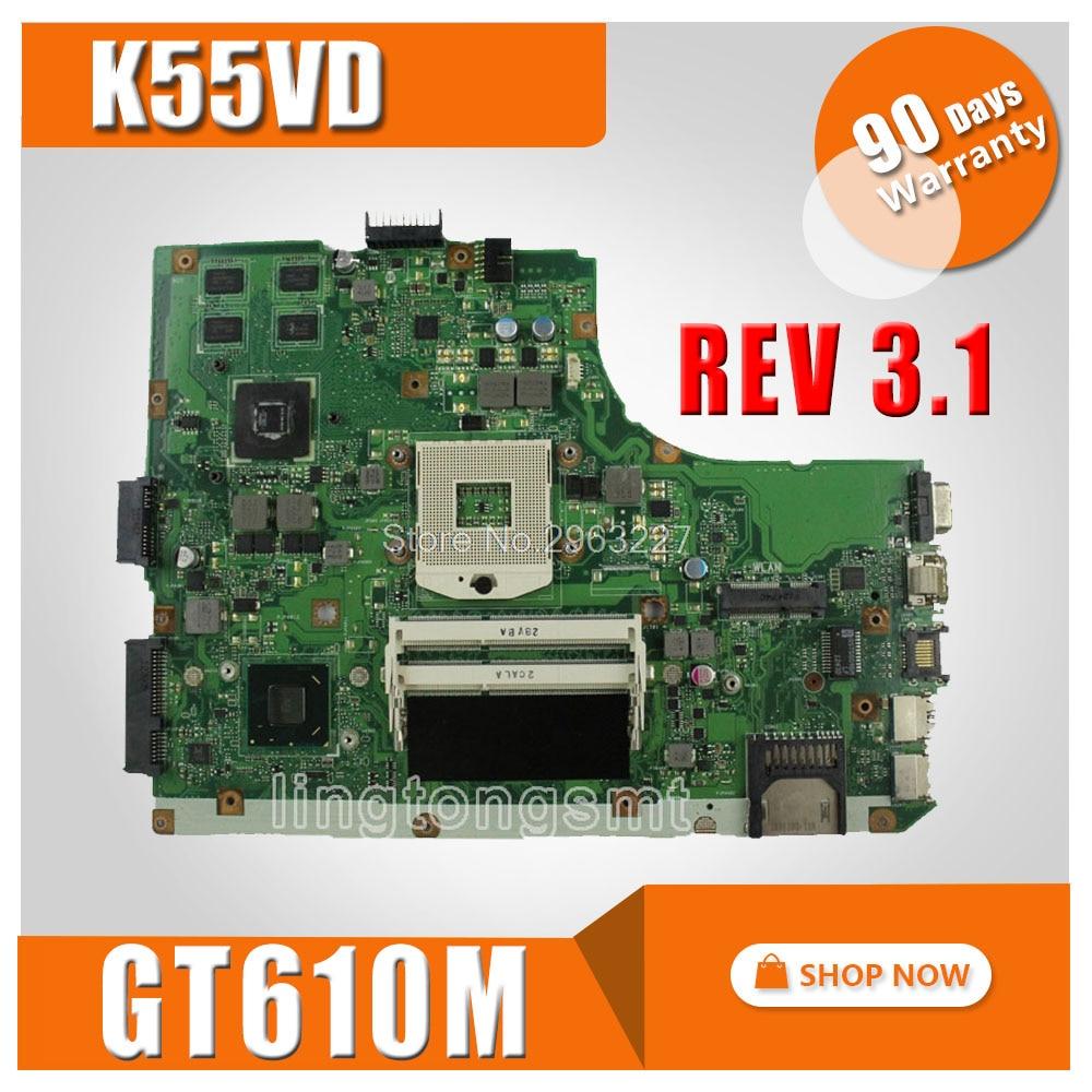 K55VD Motherboard Rev 3.1 GeForce 610M DDR3 For ASUS K55VD A55VD F55VD Laptop motherboard K55VD Mainboard K55VD Motherboard k55vd laptop motherboard for asus 8pcs video card rev3 0 k55vd mainboard full tested