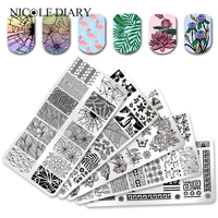 5Pcs Unicorn Flamingo Stamping Template Set Animal Flower Line Net Nail Art Image Plate Manicure Nail