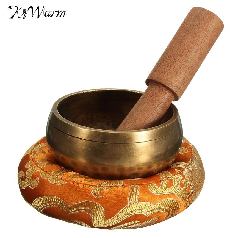 KiWarm 8 см ручной молоток чакра тибетская Поющая чаша набор деревянная наклейка коврик для медитационная Йога буддизм подарки Домашний Декор ...