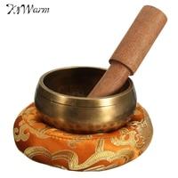 KiWarm 8cm Hand Hammered Chakra Tibetan Singing Bowl Set Wood Sticker Mat for Meditation Yoga Buddhism Gifts Home Decor Crafts