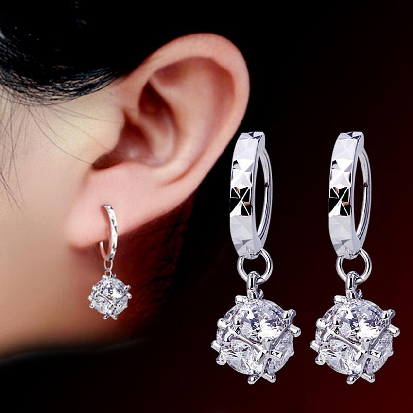 NEHZY 925 sterling silver Jewelry New Woman ornament female models love cube sugar window Fashion Cubic Zirconia Earrings