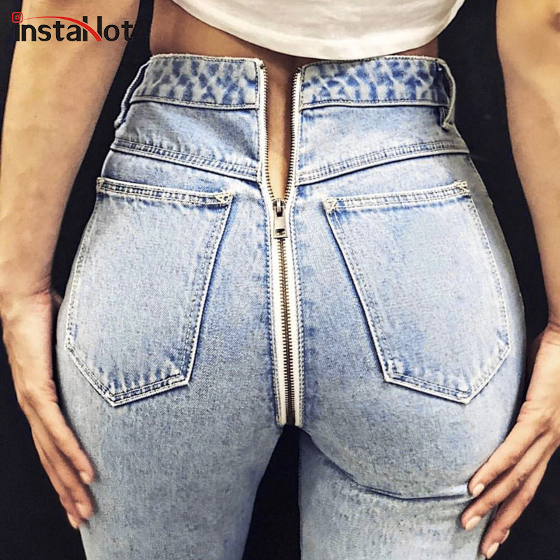 InstaHot Back Zipper Light Blue Denim Jeans Pocket Pants Women Sexy Straight Trouser 2018 Autumn Winter New Arrival Jeans Female