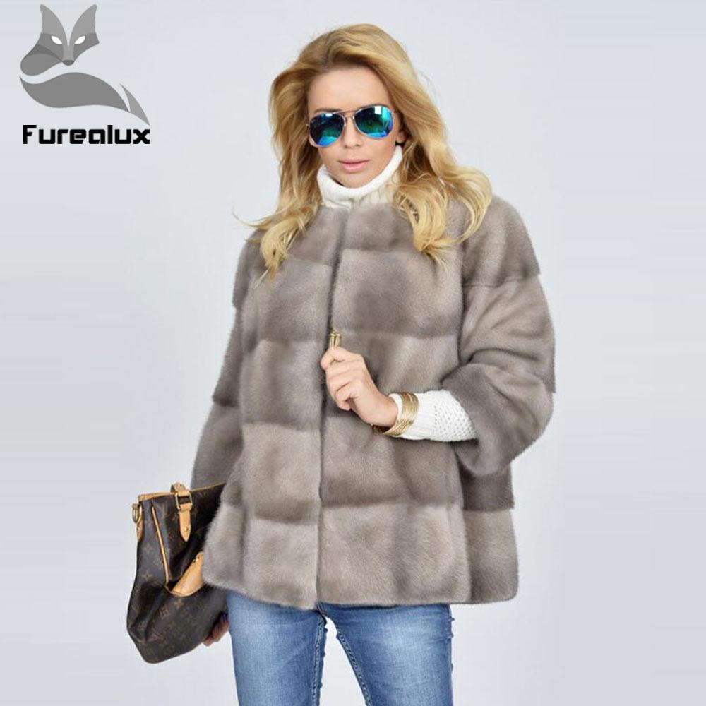 Furealux nuevo Real Piel de visón abrigo para las mujeres caliente ronda Collar de moda completa Piel de visón chaqueta alta grado abrigo de piel de visón