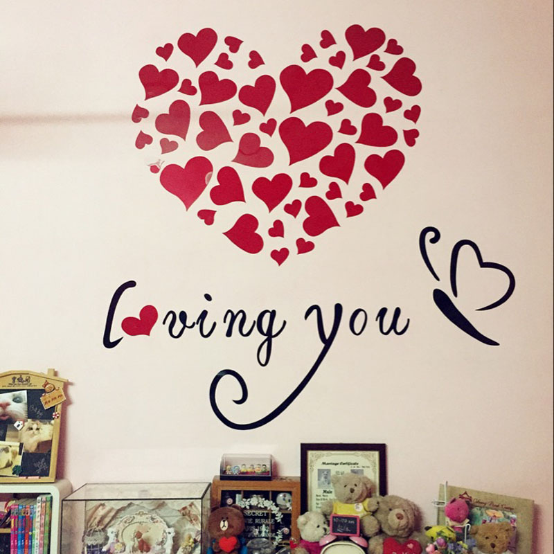 Romantic loving you hearts design 3d acrylic wall stickers for Hearts decorations home