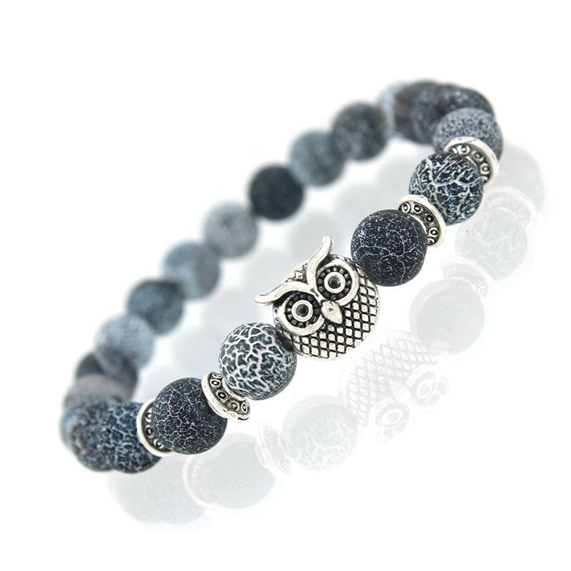 Natural Black And White Stone Bracelet With Silver Owl
