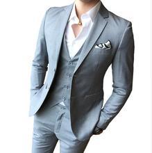Color sólido slim fit Hombre 3 piezas trajes vestido de boda de los hombres  de negocios 832e798e3a3