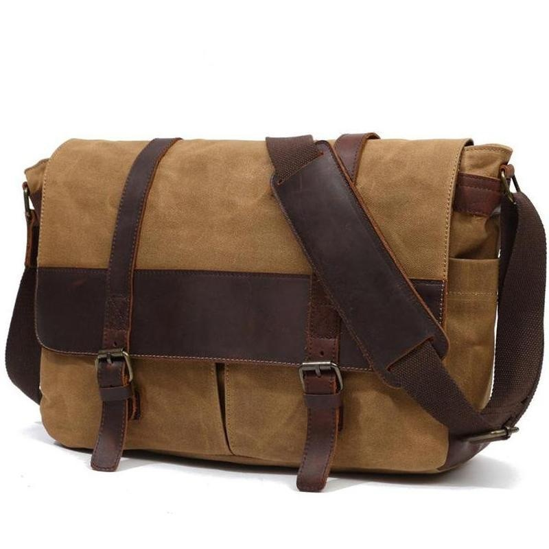YUPINXUAN Europe Vintage Waterproof Men Bag Pure Cotton Canvas Leather Shoulder Bags Retro Oil Wax Postman Bag Large Laptop Bags yupinxuan mens vintage oil wax canvas leather shoulder bags shockproof dslr camera bag waterproof canvas crossbody bags russian