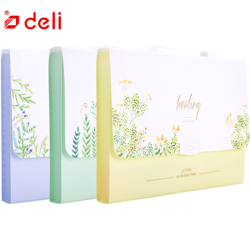Deli 3/4pcs A4 Expanding Wallet file folder Portable Expanding File Document 10 Style Storage Bag Office Supplies 72393/72386 13 interlayer a4 plastic candy color document bag file folder expanding wallet bill folder 330mm x 255mm x 35mm deli 72386 02