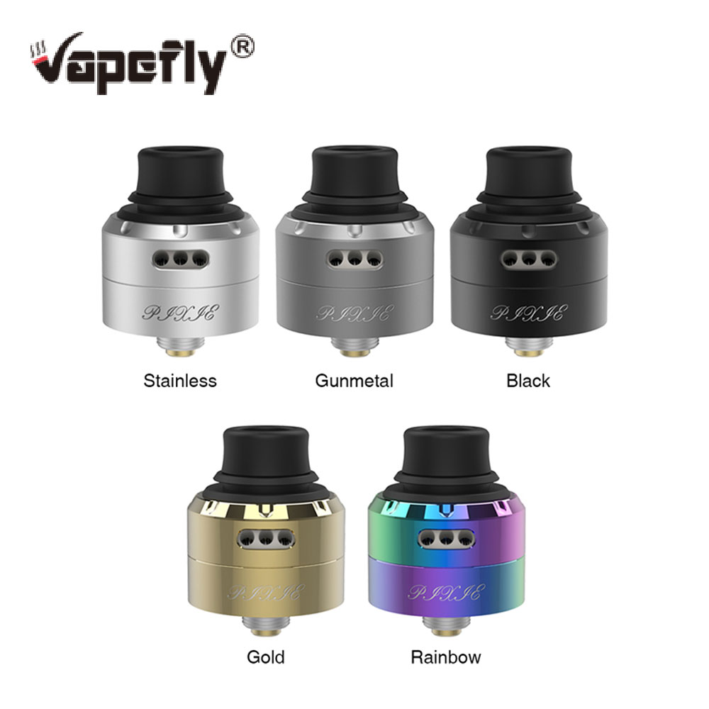 100% Original Vapefly Pixie RDA 22mm Diameter With Tri-hole Airflow System & BF Pin & Super Easy Building Deck Vs Galaxies MTL