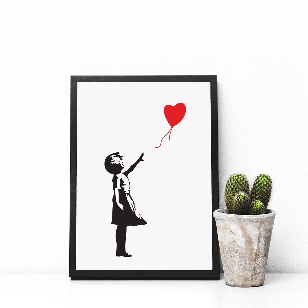 Grafitti art kopen - Banksy Rood Hart Ballon Meisje Wapens Graffiti Art Poster Hart Vormige Ballon Wall Art Nursery Art
