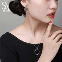 SA SILVERAGE 925 Sterling Silver Colorful Zirconia Round Circle Pendant Necklaces Drop Earrings Sets 925 Silver Jewelry Sets