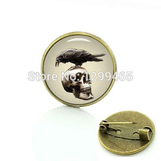 2017 Time-limited Broche Vintage Crow Raven Skull Brooches Steam Punk Badges For Gifts For Father Tattoo Design Gallery C 850
