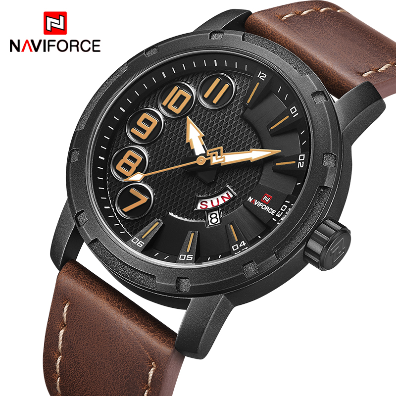 NAVIFORCE Top Luxury Brand Men Sports Watches Men's Unique Quartz Date Clock Male Leather Army Military Waterproof Wrist Watch