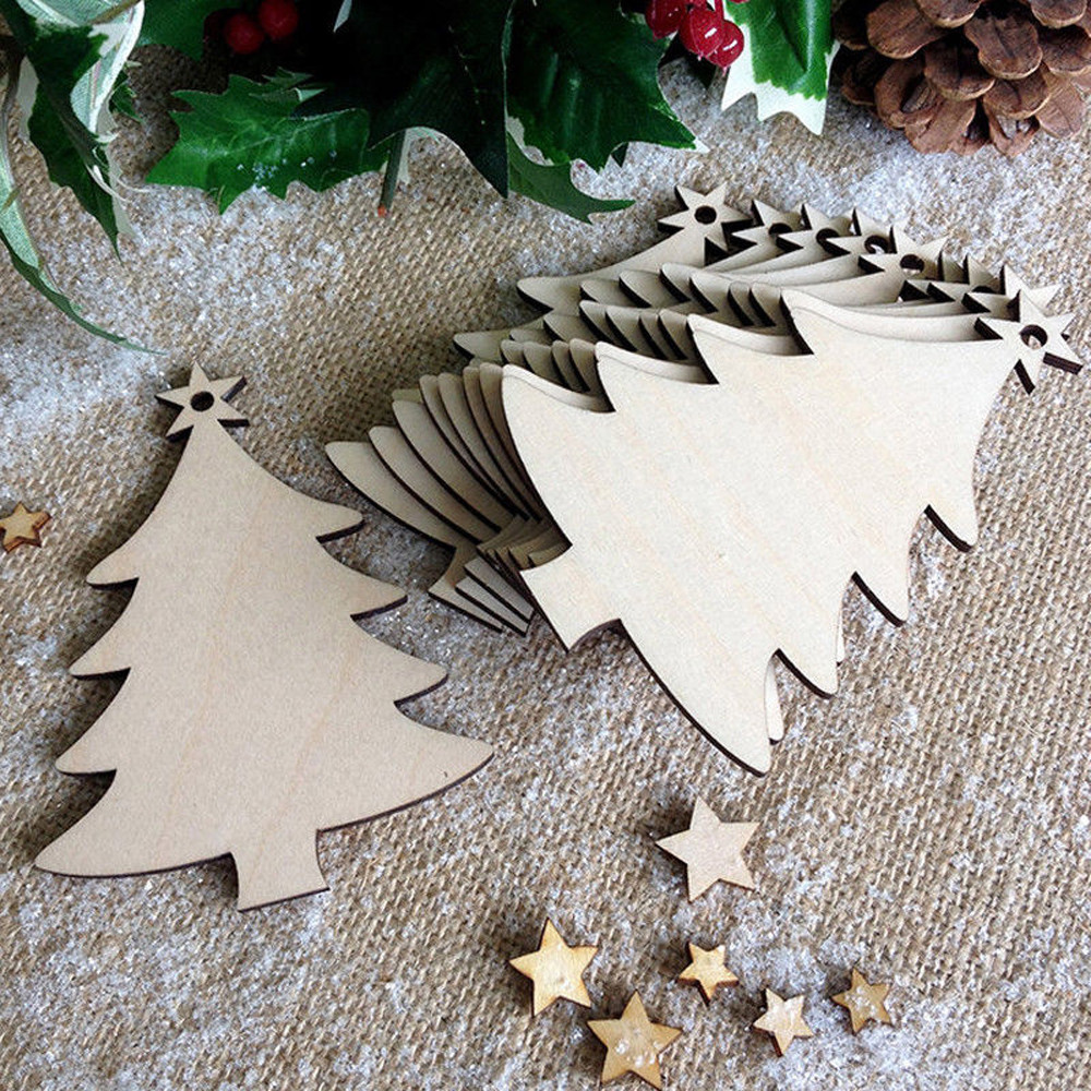10pcs Christmas Wood Tree Ornaments Hanging Decoration Gift Christmas  Ornaments 2017 Christmas Tree Hanging Ornament Handicrafts