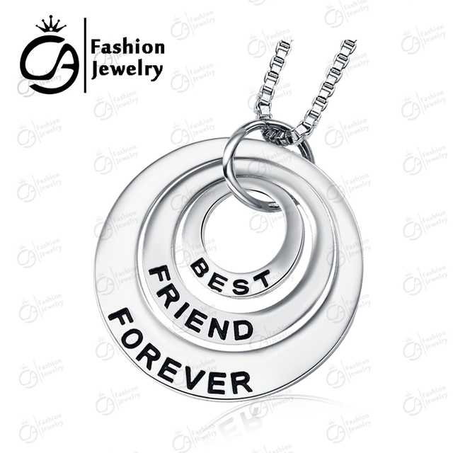 2015 Fashion Best Friends Forever Silver 3 Part Circle Dice Pendant Necklace Women Girls Gift Chain Jewelry #LN922 , 20Pcs/Lot