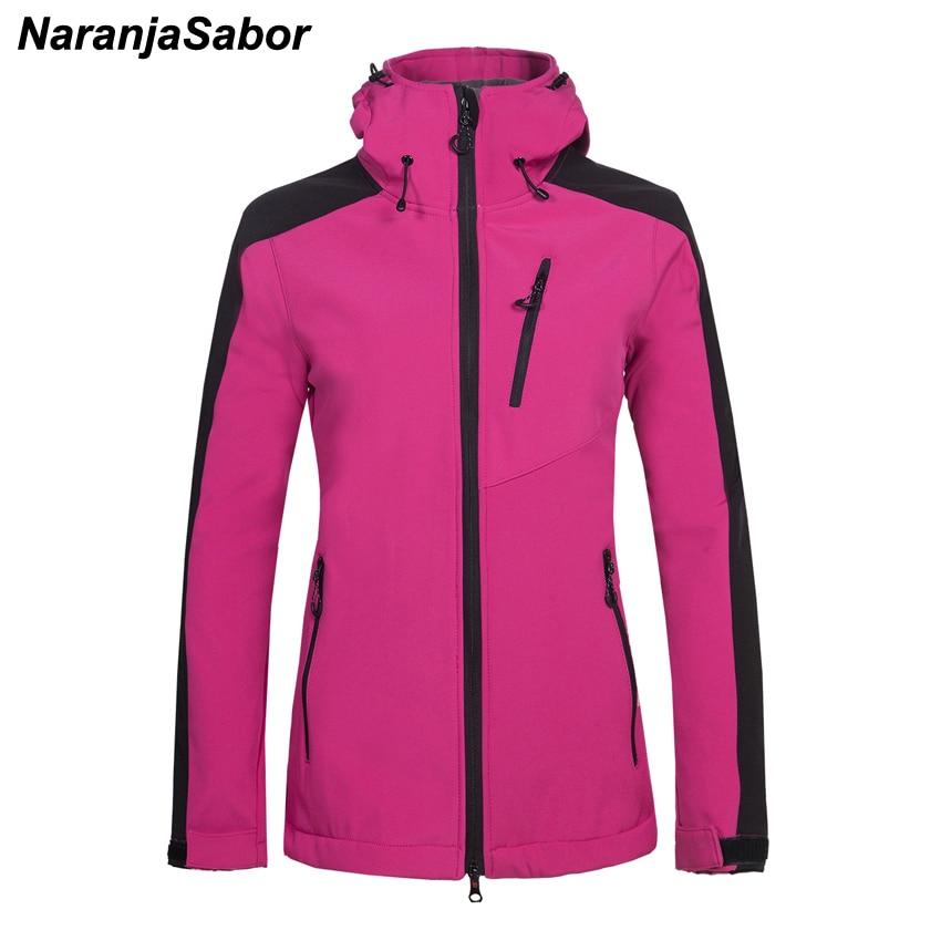 NaranjaSabor 2018 Winter Women s Softshell Fleece Jackets Hooded Female Windbreakers Outwear Jogger Coats Women Brand