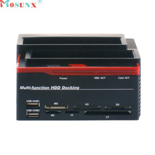 Mosunx Advanced U disk Top Department quality Docking Station Trip Lo 3 Hard Disk USB 2.0 Multi Fun Zion E Card SATA IDE 1PC