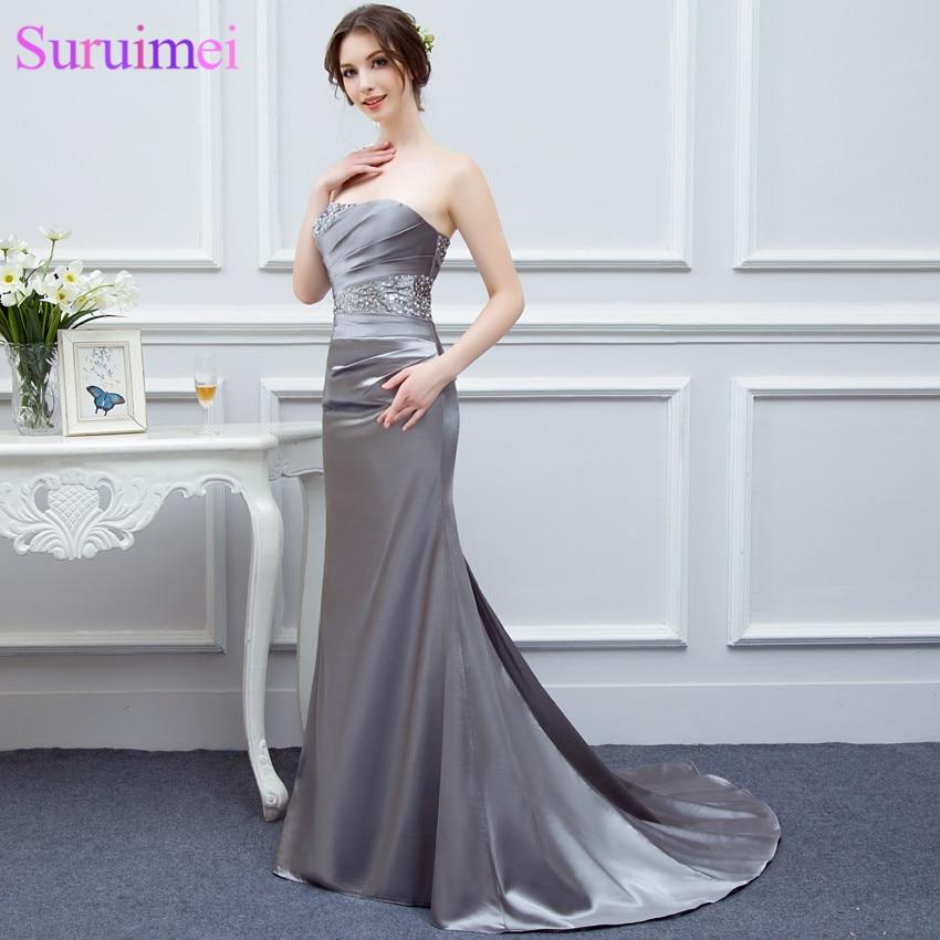 Silver Gray Bridesmaid Dresses Long Silk Satin Mermaid Shining Crystals Beaded Cheap Brides Maid Of Honor Real Photos Free Ship