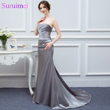 Silver Gray Bridesmaid Dresses Long Silk Satin Mermaid Shini