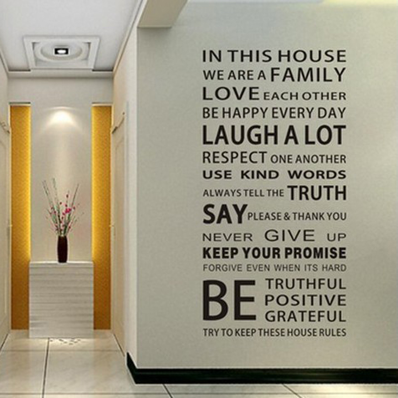 Removable Words House Rules Wall Stickers Quotes Decorative Family Wall  Decals(China (Mainland)