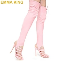 Sexy Pink Over The Knee Thigh High Boots Women High Heels Sandals Lace Up Stiletto Heel Shoes Stretch Long Summer Boots Woman