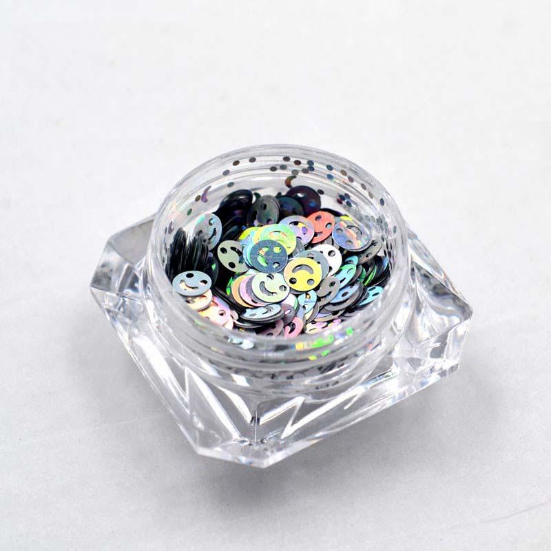 1 caixas de Prata Holográfica cores Nail art glitter lantejoulas emoji smiley feliz rosto formas-Emoji Loucura Glitter