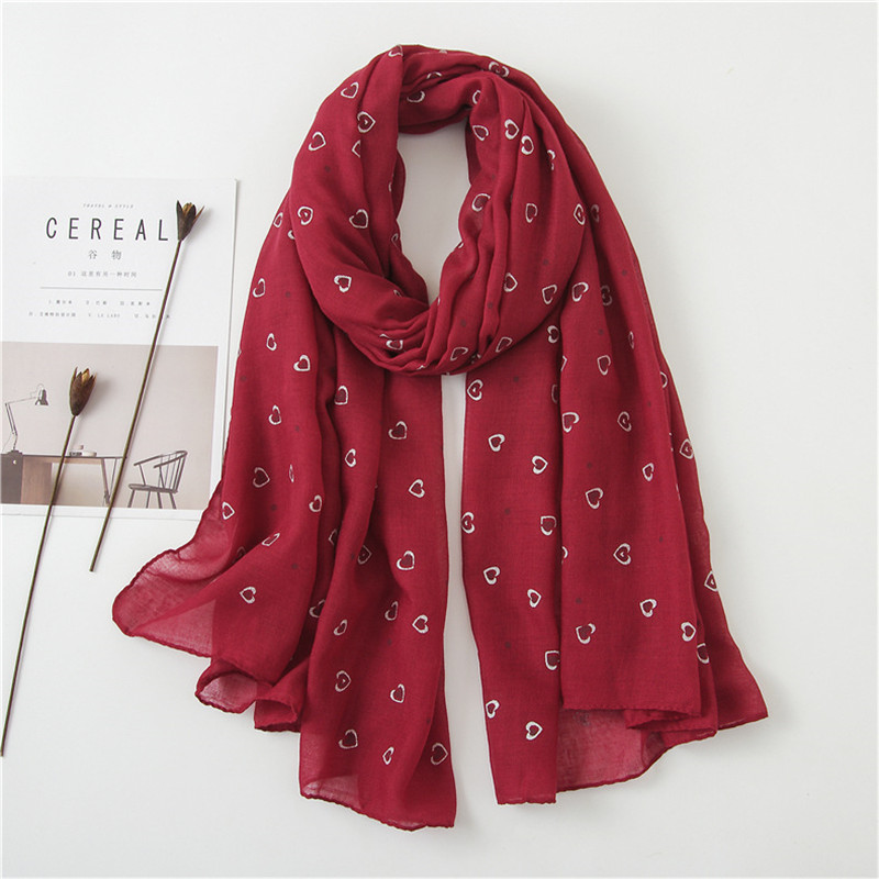 6 colors Fashion heart shape printing Scarf Woman plain solid Gradient Shawl Cotton Soft Viscose shawl Muslim echarpe wholesale