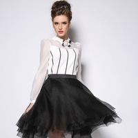 Lady Elegant Roupas Femininas New 2015 Women Fashion Tops Peter Pan Collar With Flower Long Sleeve