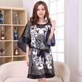 Venta caliente Negro Vestido de Verano Impresión de La Vendimia de Las Mujeres Bata de Seda del Faux Salón de la ropa Bata Camisón Flojo Vestido de Mujer Pijamas
