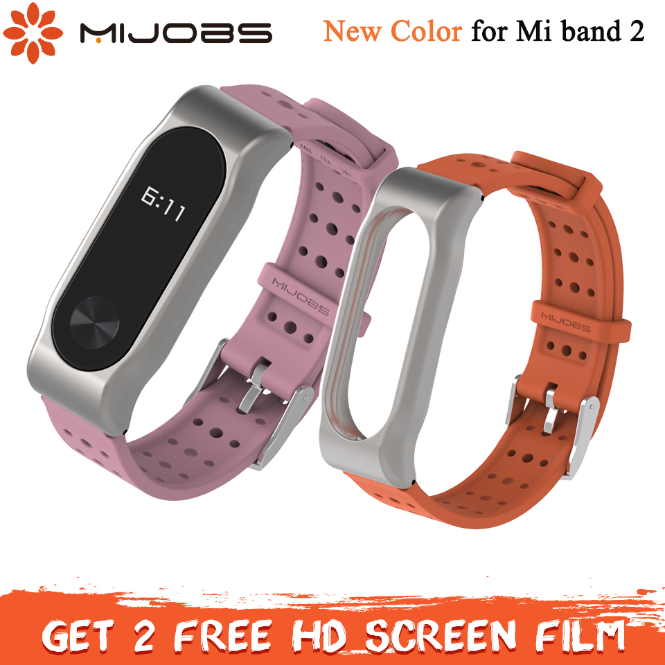 Mijobs Mi Band 2 Strap Sport Silicone Bracelet For Xiaomi Mi Band 2 Strap Smart Band Accessories Wristband Mi Band 2 Strap Metal