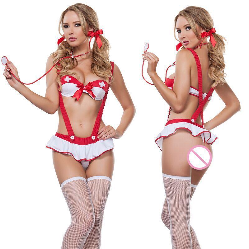 sexy lingerie white red suspender women top bra dress hot uniform