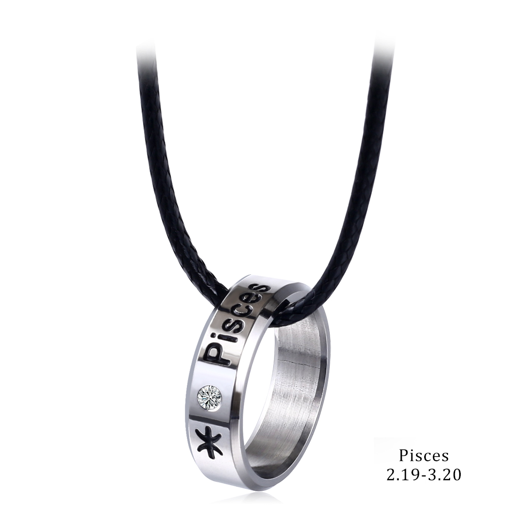 Constellations Necklace Silver Color Stainless Steel Zodiac Round Pendants Necklaces For Men Women Fashion Jewelry