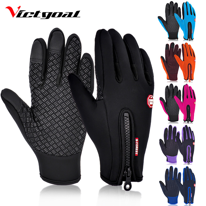 VICTGOAL Cycling Gloves Full Finger Skiing Gloves Men Women Fleece Hiking Gloves Waterproof Screen Touch Motorcycling Glove(China)