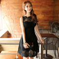 Elegant petals lace patchwork clothing black full dress female slim high waist long design suspender dress free shipping