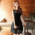 Elegantes pétalos ropa del remiendo del cordón negro del vestido lleno femenino delgado alta cintura del diseño largo de la liga del envío libre