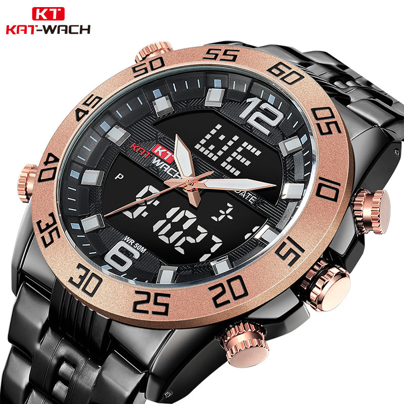 KAT WACH Quartz Business Military Men's Watches 5ATM Waterproof Drop Shopping Man Watches Dual Display men watches luxury brand