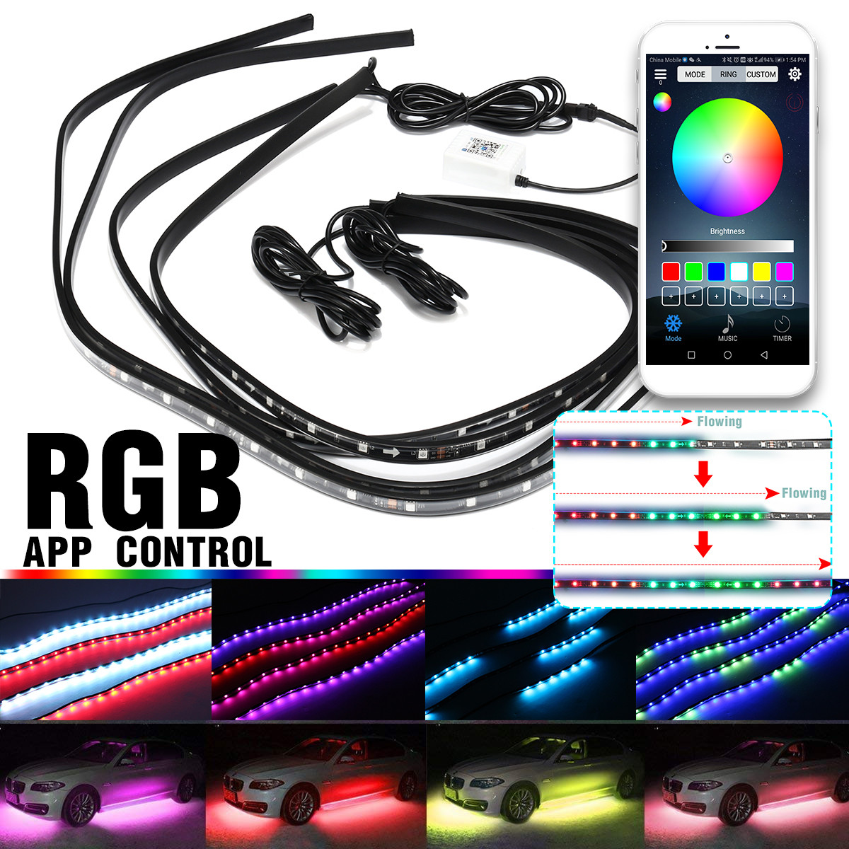 1Set/ RGB LED Under Car Tube Strip Underglow body Light Kit APP Wireless Control Strip light Decoration Auto Under Glow Light car styling 7 color led strip under car tube underglow underbody system neon lights kit ma8 levert dropship