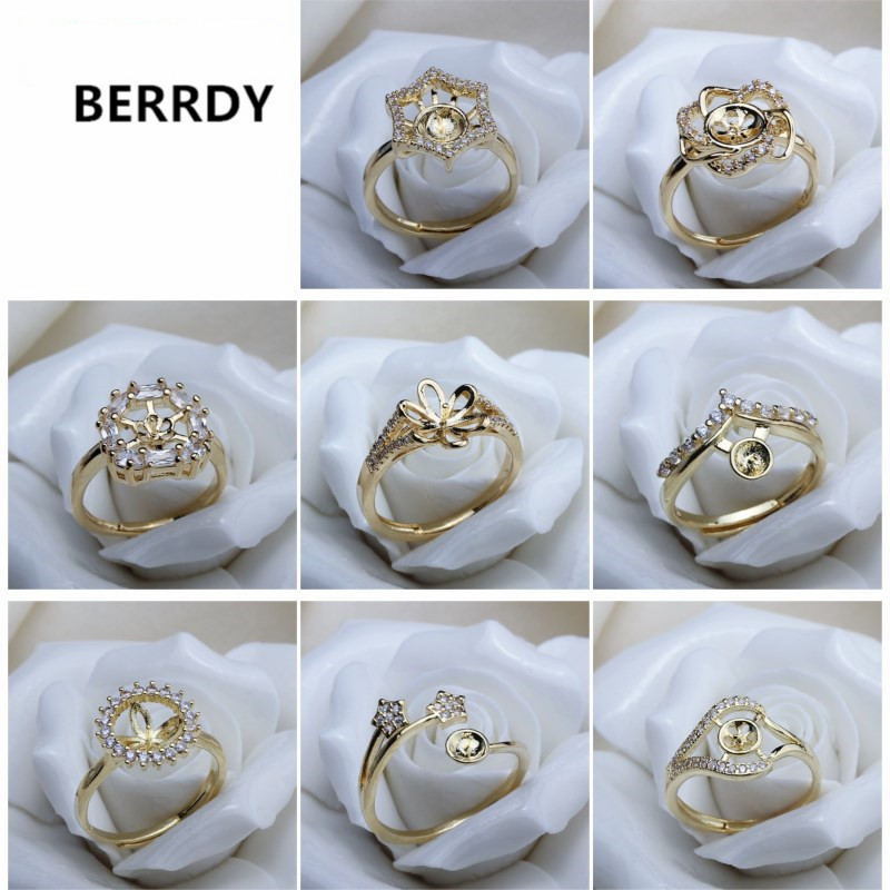 Gold Plated Fashion Charm Exquisite Pearl Ring Accessories Ring Findings Ring Jewelry Parts Fittings Mountings 12pcs