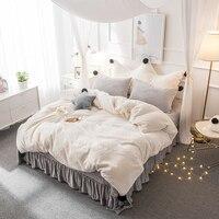Белый серый розовый флис ткань зима набор постельных принадлежностей для девочек мягкие бархатные фланелевые пододеяльник толстые покрыв