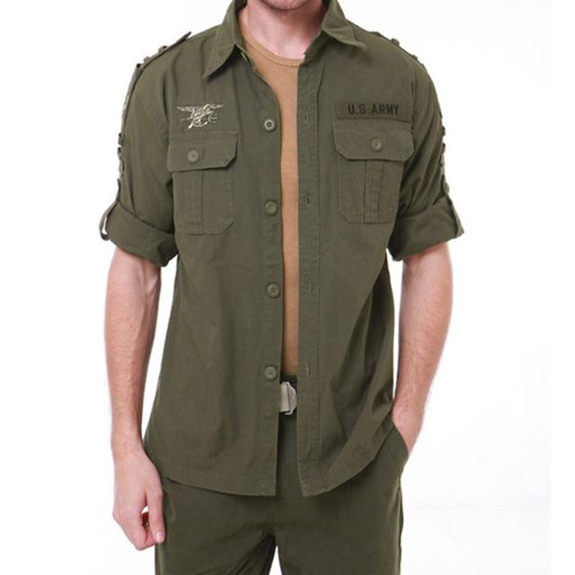 5d5251d9eddc4 New Brand Tactical Cargo Shirts Navy Seals 101 Combat Army Shirt Mens  Breathable Long Sleeve Tops