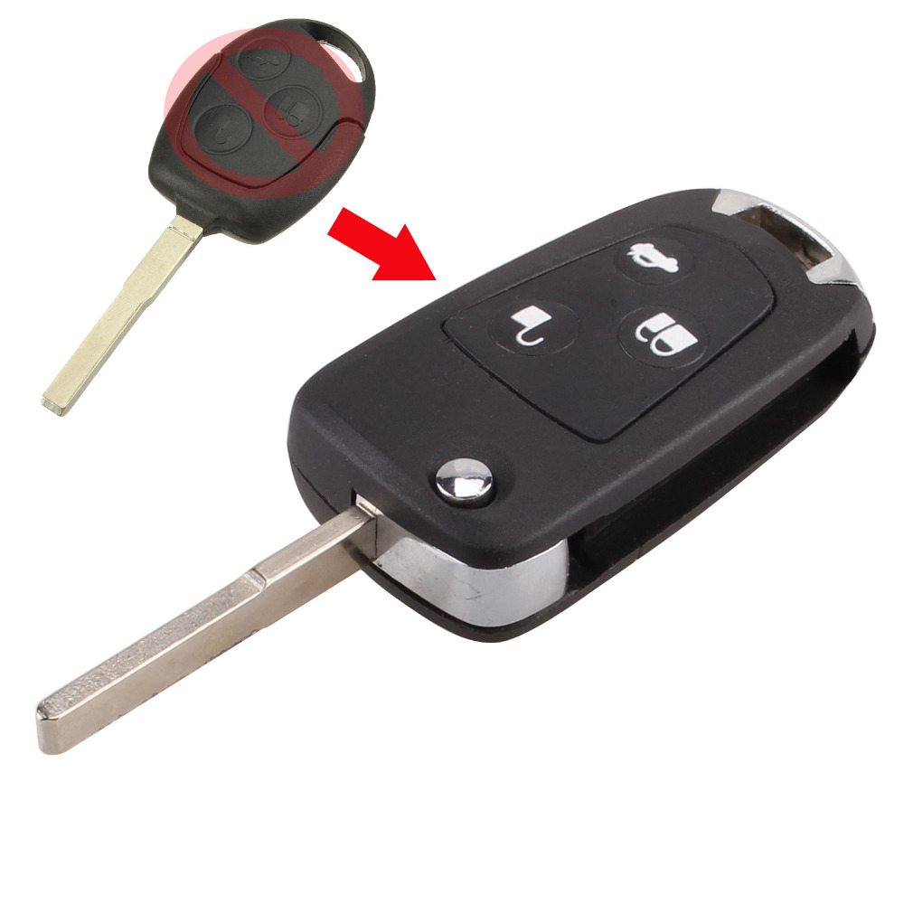 Dandkey new 3 buttons modified folding remote key flip fob shell for ford focus mondeo fiesta