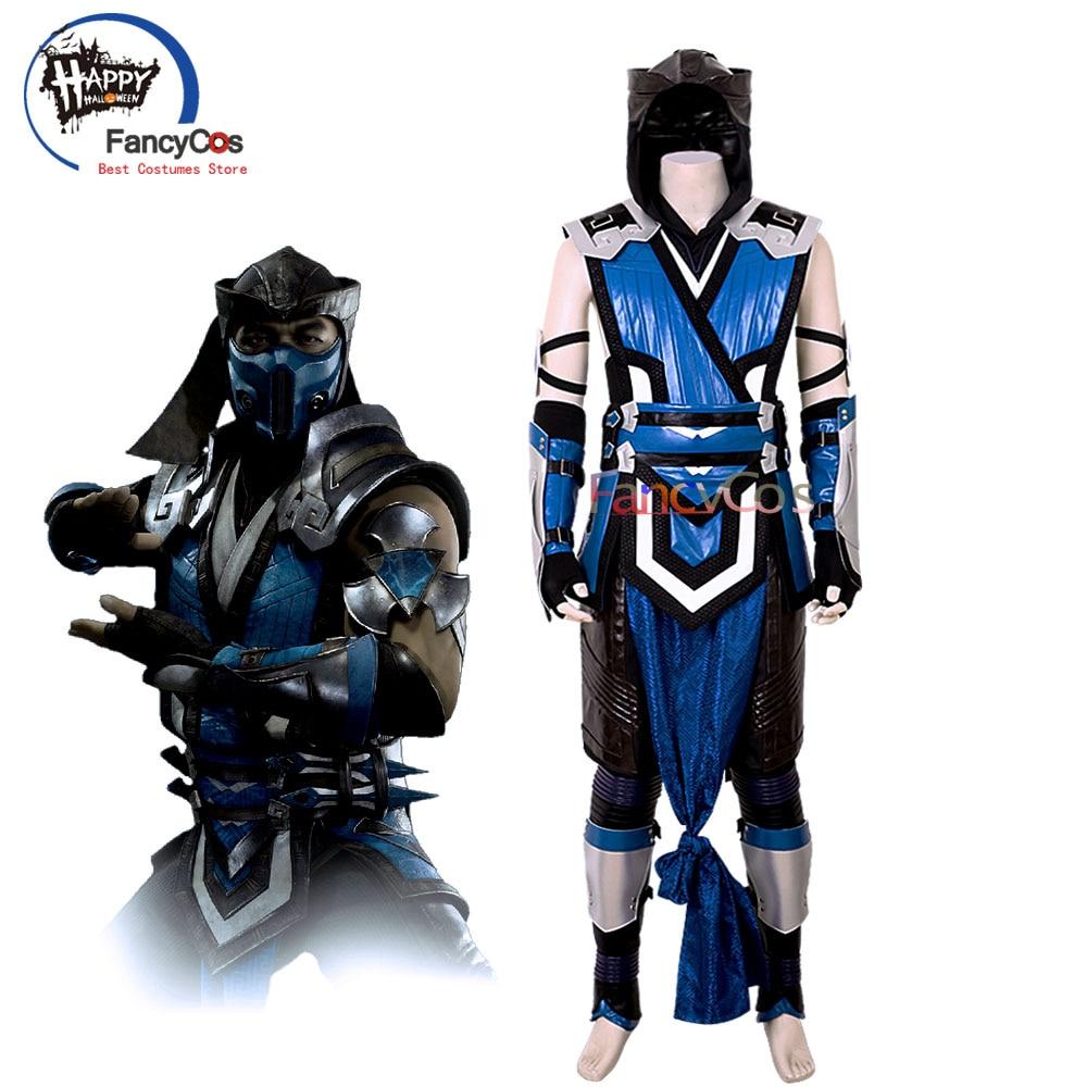 Mortal Kombat 11 Sub-Zero Cosplay Costume Mask MK 11 Belt Game Halloween 1 Set