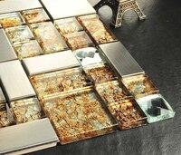 Orange crystal vetro placca tessere di mosaico hmgm1105 backsplash della cucina della parete adesivo per piastrelle piastrelle pavimento del bagno di trasporto libero