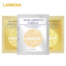 LANBENA 24K זהב פפטיד קמטים אמפולה קפסולה קרם יום קרם יום קרם עיניים אנטי אייג 'ינג העור הלבנת חלזונות 90pcs