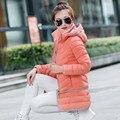2017 venda quente 8 cores M-3XL mulheres Frio térmica para baixo algodão quente Jaqueta casaco longo plus size com um capuz fino Barato atacado