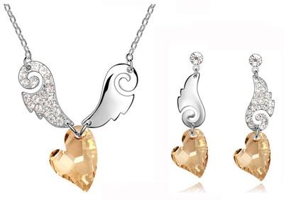 Tigre totem Frete Grátis top quality Cristal Austríaco strass Asas de Anjo Pingente de Coração Conjunto de jóias de moda colar brinco