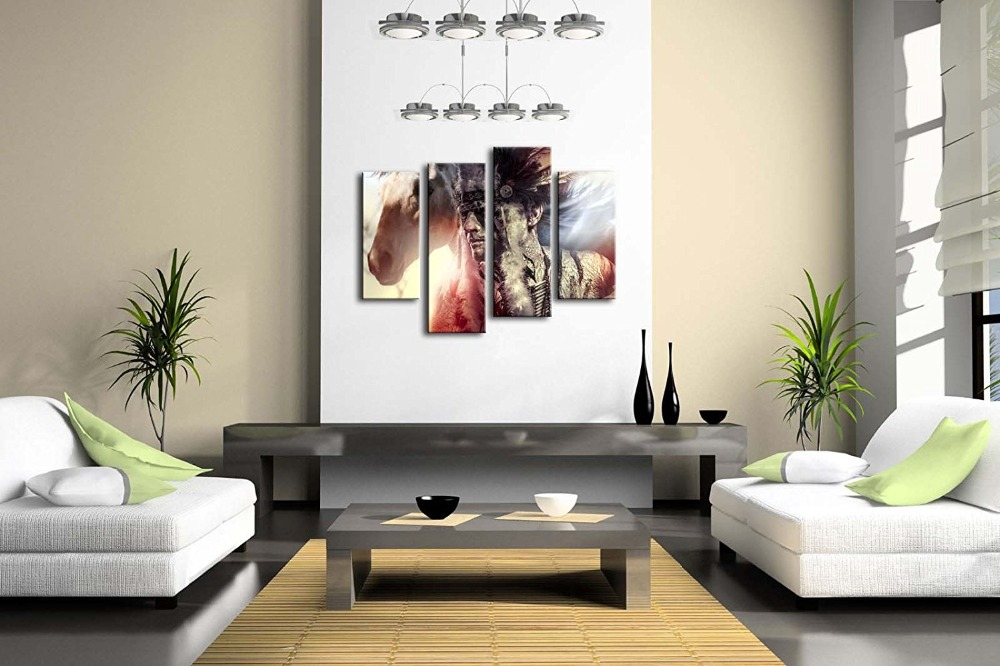 4 Panel Man Feather Headdress And Tomahawk Horse Modern Home Wall Decor Canvas Picture Art HD Print Painting On Canvas Artworks